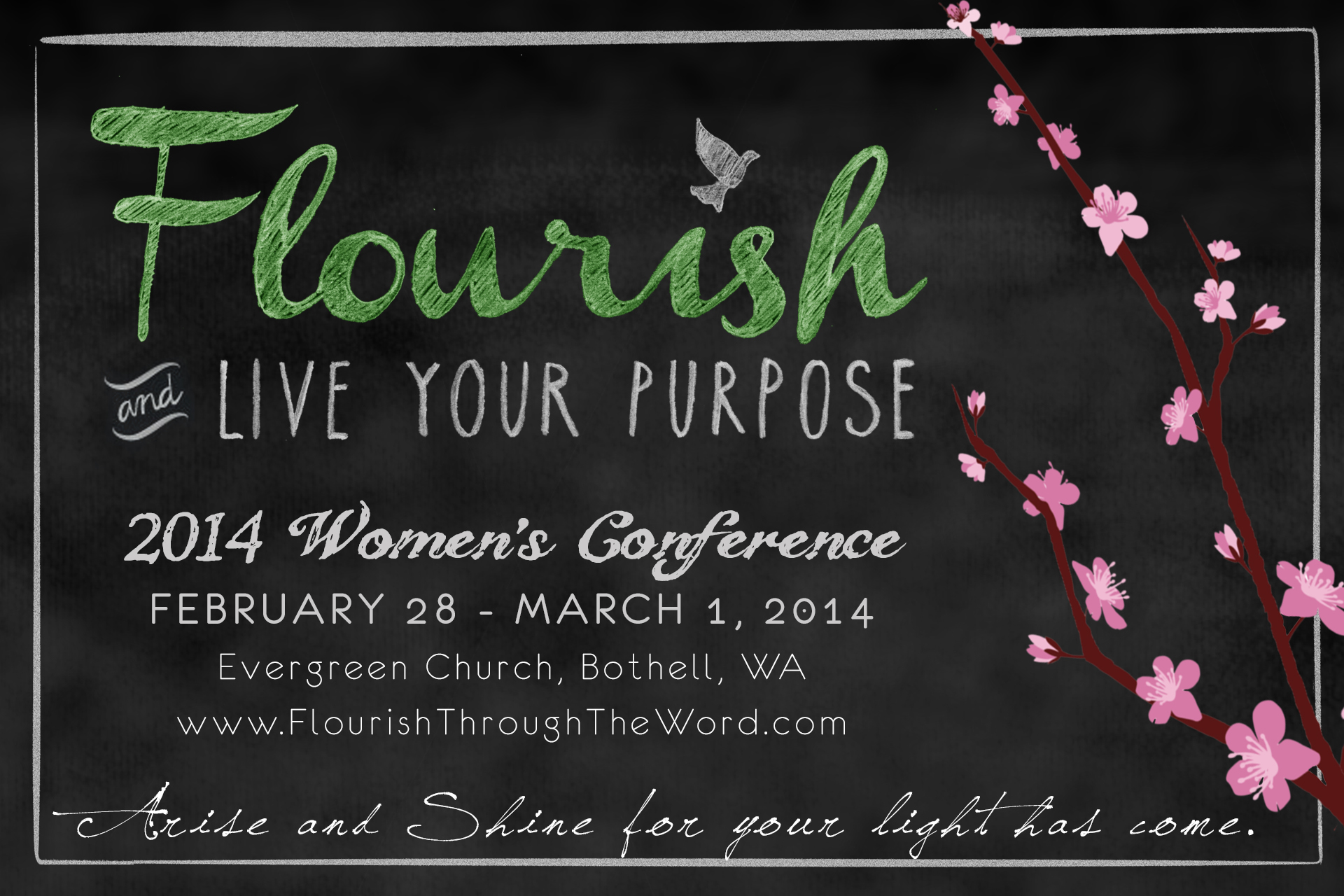 2014 Flourish and Live Your Purpose Postcard Front